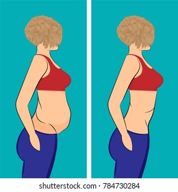 Fat and slim girl. before and after. vector illusstration