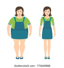 Fat and slim girls vector illustration in flat style. Children obesity concept. Girl getting fat, gaining weight, getting thin, loosing weight.