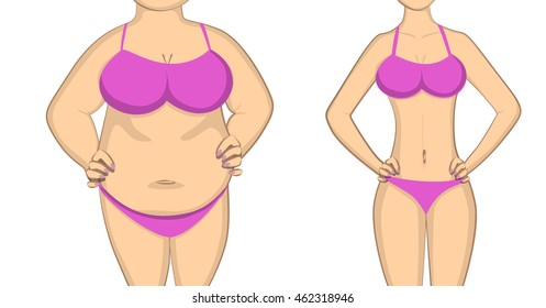 From fat to slim and healthy body. Before and after concept. Changing lifestyle and body shape.