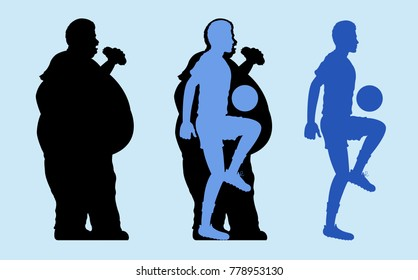 Fat and Slim Man Silhouette. The vector based illustration document has different layers and all of them can be used independent.