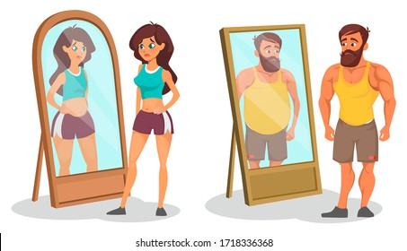 Fat and slim people with reflection in mirrors vector illustration. Different between body shapes cartoon design. Desire to lose weight. Illusion and reality concept. Isolated on white background