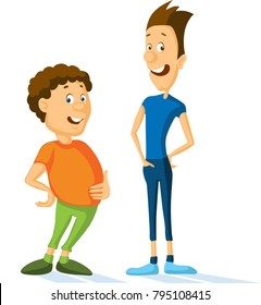 fat and slim sport man cartoon vector illustration - flat design