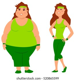 Fat and slim woman before and after weight loss. Diet, sport and fitness. Cartoon vector characters isolated on a white background.