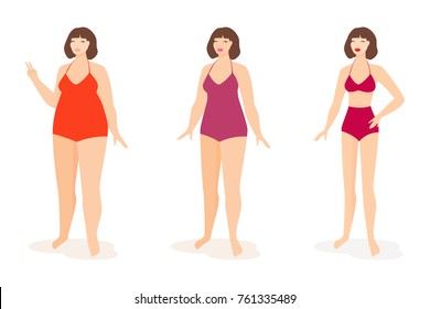Fat and slim woman, before and after diet. Vector illustration.
