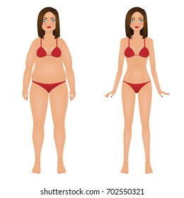 Fat and slim woman in red bikini. Girl before and after weight loss. Isolated vector illustration.