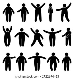 Fat stick figure man standing front, side view in different poses vector icon illustration set. Obese male hands up, waving, pointing, showing silhouette pictogram