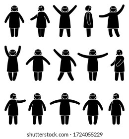 Fat stick figure woman standing front, side view in different poses vector icon illustration set. Obese female hands up, waving, pointing, showing silhouette pictogram