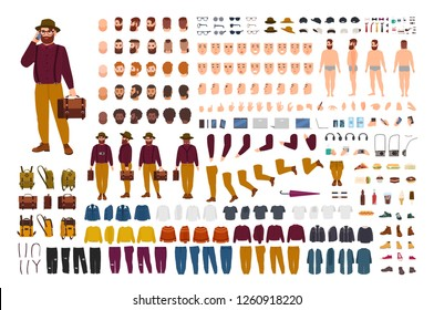 Fat or stout man constructor set or DIY kit. Bundle of flat cartoon character body parts in various postures, stylish clothes isolated on white background. Front, side, back view. Vector illustration.