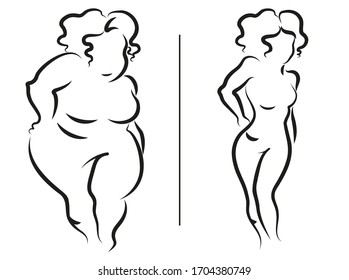 Fat and thin women on a white background. Comparison before and after losing weight. EPS10 vector illustration