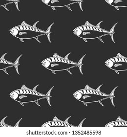 Fat tuna character abstract ink hand drawn vector seamless pattern. Simplified retro illustration. Ocean, sea animal curve paint sign. Doodle line sketch. Realistic element design, fabric print. Tunny
