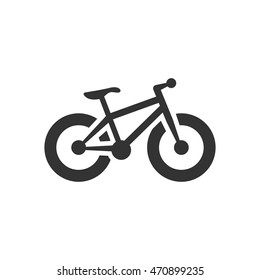 Fat tyre bicycle icon in single color. Sport transportation explore distance endurance extreme terrain