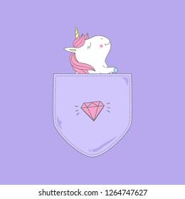 Fat unicorn enjoy in shirt pocket. Illustration for cloth print