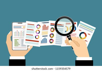 Fat vector banner for analytic finance graph report and business investment planning concept
