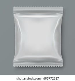 Fat White Blank Foil Food Packing. EPS10 Vector