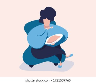 Fat woman in a chair eating high calorie food. Vector illustration.