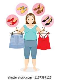 Fat Woman Decide Selecting The Right Shoes For Her Clothing, Footwear, Fashion, Objects