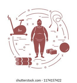 Fat woman and different sports equipment. Healthy lifestyle. Exercise bike, skipping rope, fitball, yoga bricks and mat.
