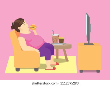 Fat woman eating fast food on sofa and watching TV at home. Illustration about cause of obesity and overweight.