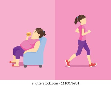 Fat woman eating hamburger on sofa but slim woman doing jogging. Illustration about Difference activity and shape.