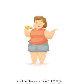 Fat woman eating pizza vector illustration