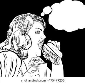 fat woman eats a hamburger coloring book with bubble