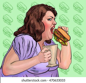 fat woman eats a hamburger realistically