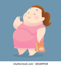The fat woman is enjoy eating many junk foods. Overweight people taste fast food. Concept with Cartoon and Vector