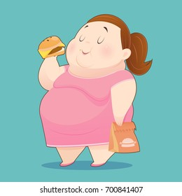 The Fat Woman is Enjoy Eating Many Junk Foods - Overweight People Taste Fast Food, Idea Concept With Character Design, Vector Illustration 10 EPS