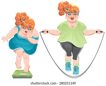 Fat woman with horror looks at the scales, and then jumps on a skipping rope. Illustration in vector format