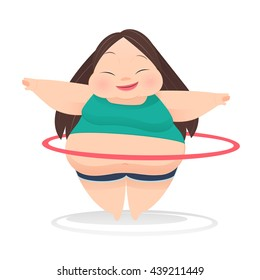 Fat woman with hula hoop twirling