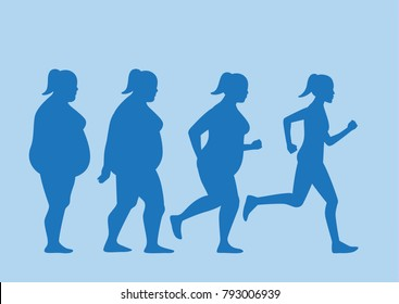 Fat woman jogging to slim shape in 4 step. This pic about exercise concept.