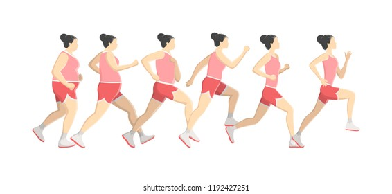 Fat woman lose weight while running or jogging. Become slim doing sport exercise. Healthy and active lifestyle. Isolated flat vector illustration