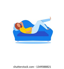 Fat woman lying on on sofa. Laziness concept. Relaxation. Health problems