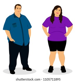 Fat woman. Fat man. Thick couple. Obesity. Lifestyle. Isolated objects Vector illustration