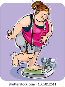 A fat woman on a weighing scale. Her frustration is showing because in spite of dieting and exercising she can't seem to loose weight.