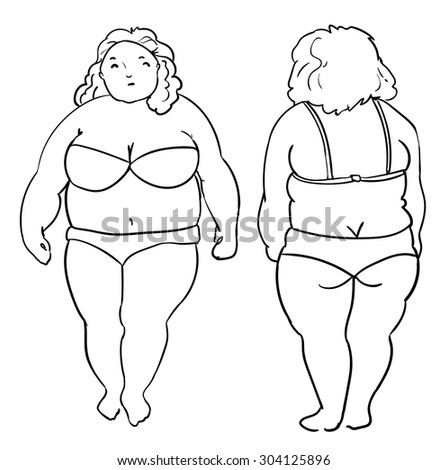 Fat Woman Plus Size Vector Illustration Stock Vector Royalty Free