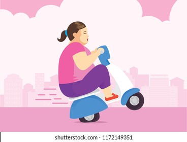 Fat woman riding motorbike in urban and lifting up front wheel because her too weight.