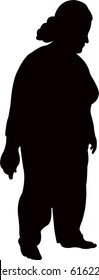 a fat woman with scarf, silhouette vector