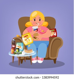 Fat woman sitting in the armchair and eating fast food. Overweight girl holding burger and drink soda. Unhealthy lifestyle. Vector illustration in cartoon style
