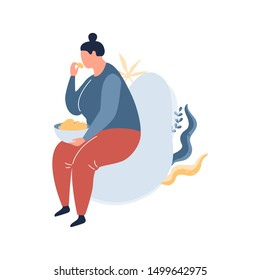 Fat woman sitting in the armchair and eating food. Overweight girl holding meal. Unhealthy lifestyle. Vector illustration in cartoon style