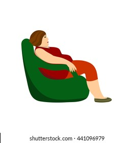 Fat woman sitting in a chair. Obesity, sedentary lifestyle.