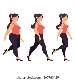 Fat Woman and Skinny Woman Walking Vector Illustration