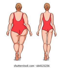 Fat woman and slender woman dressed in swimsuits. Back view. Overweight and slenderness. Healthy and unhealthy lifestyle
