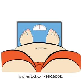 fat woman standing on the scales. vector illustration.