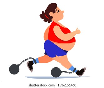 Fat fat woman in a tracksuit and shorts is running. Doing sports for health. Weights are chained to the legs on a chain. Disease of varicose veins on the legs. Vector illustration in cartoon style.