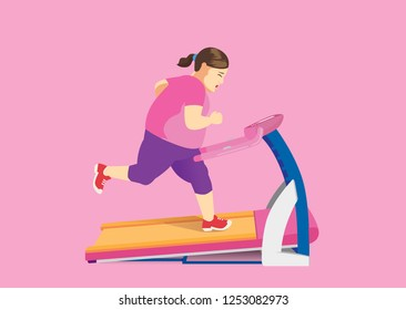 Fat woman trying to lose fat with running on Electric Treadmill. Illustration about exercise and health.