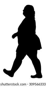 fat woman walking