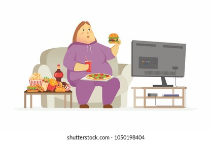 Fat woman watching TV - cartoon people character isolated illustration on white background. A plump woman in tracksuit sitting on a couch, eating fast food, drinking soda. Unhealthy lifestyle concept