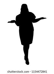 Fat young woman silhouette vector. Person concept.