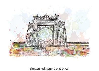 Fatehpur Sikri is a small city in northern India, just west of Agra, founded by a 16th-century Mughal emperor. Watercolor splash with hand drawn sketch illustration in vector.